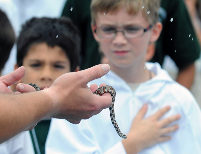 Oct. 5: Blessing of the Animals: Server Matthias Buchheister, right, a fouth grader at Mother Seton School, watched as Holy water droplets fall on Iglett the corn snake. The school hosted the annual Blessing of the Animals where a variety of animals received blessings in honor of the patron saint of animals St. Francis of Assisi on his feast day. (Kenneth K. Lam/Baltimore Sun)