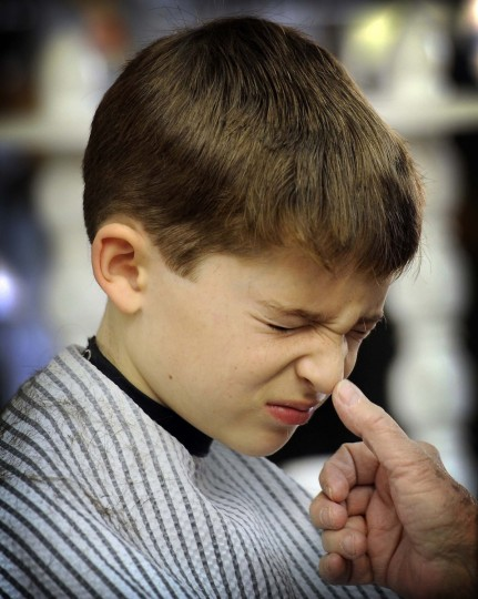 Nine year old Daniel Melia of Baltimore winces from an itchy nose as barber Annette Jones wipes hair off his face(Barbara Haddock Taylor/ Baltimore Sun)
