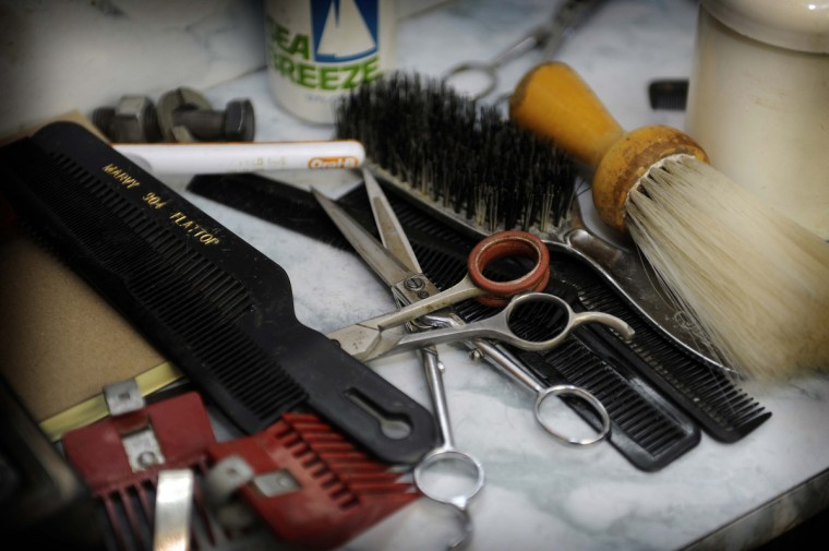 Some of the tools of the trade at Gennuso's Barbershop on York Road, which has been owned by Chuck Gennuso since 1975. ()Barbara Haddock Taylor/Baltimore Sun)