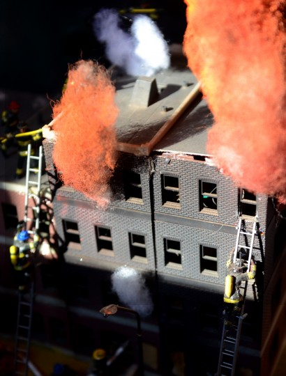 One scene at the Glen Avenue train garden depicts a fire rescue. (Jon Sham/BSMG)
