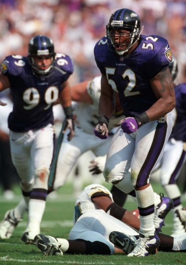 Ray Lewis celebrates after making a play in the Ravens' 39-36 victory over the Jacksonville Jaguars on Sept. 10, 2000, at PSINet Stadium. (Karl Merton Ferron/Baltimore Sun Photo)