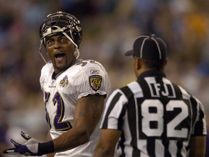 Ray Lewis reacts to a call during the Ravens' 35-17 loss to the Detroit Lions on Oct. 9, 2005. The Ravens had 21 penalties (one shy of the NFL record), four turnovers and two players ejected in the humbling defeat in Detroit. (John Makely/Baltimore Sun Photo)