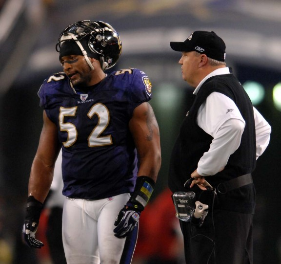 Ray Lewis (left) and defensive coordinator Rex Ryan talk on the sideline during the Ravens' 15-6 loss to the Indianapolis Colts in an AFC divisional playoff game on Jan. 13, 2007. (Gene Sweeney Jr./Baltimore Sun Photo)