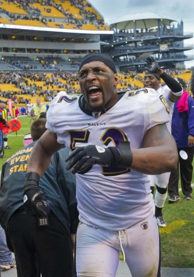 Ray Lewis and the Ravens celebrate after rallying to beat the Pittsburgh Steelers, 17-14, on Oct. 3, 2010, at Heinz Field. (Karl Merton Ferron/Baltimore Sun Photo)