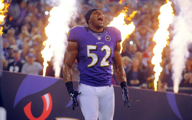 Ray Lewis makes his entrance before the Ravens' prime-time game against the New England Patriots on Sept. 23, 2012, at M&T Bank Stadium. The Ravens won, 31-30, on a 27-yard field goal by Justin Tucker as time expired. (Karl Merton Ferron/Baltimore Sun Photo)