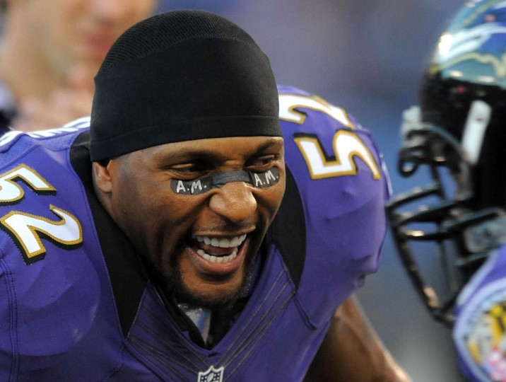 "Ray Lewis pays tribute to former Ravens owner Art Modell during the season opener against the Bengals. ""The only reason I'm in Baltimore is because of him. The only reason the Ravens have a team is because of him. The only reason a lot of sacrifices have happened throughout this league is because of him,"" Lewis said of Modell, who died at 87 on Sept. 6. (Gene Sweeney Jr./Baltimore Sun Photo)"