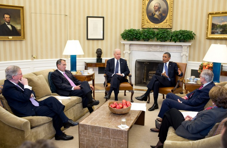 "Dec. 28, 2012: ""After returning early from his Christmas vacation, the President with the Vice President meets in the Oval Office with the leadership of Congress to discuss the fiscal cliff."" (Official White House Photo by Pete Souza)"