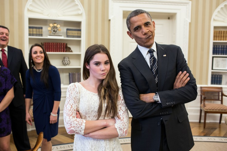 """Nov. 15, 2012: """"The President had just met with the U.S. Olympics gymnastics team, who because of a previous commitment had missed the ceremony earlier in the year with the entire U.S. Olympic team. The President suggested to McKayla Maroney that they recreate her 'not impressed' photograph before they departed."""" (Official White House Photo by Pete Souza)"""