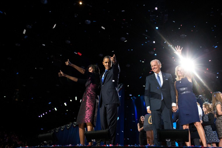 """Nov. 6, 2012 (Election Day): """"David Lienemann captured the Obamas and Bidens following the President's election night remarks at McCormick Place in Chicago."""" (Official White House Photo by David Lienemann)"""