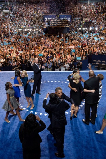 """Sept. 6, 2012: """"Chuck Kennedy made this overhead shot as the Obama and Biden families joined together onstage following the President's speech at the Democratic National Convention in Charlotte."""" (Official White House Photo by Chuck Kennedy)"""