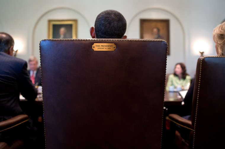 "July 26, 2012: ""A view from behind the President's chair during a Cabinet meeting in the Cabinet Room."" (Official White House Photo by Pete Souza)"