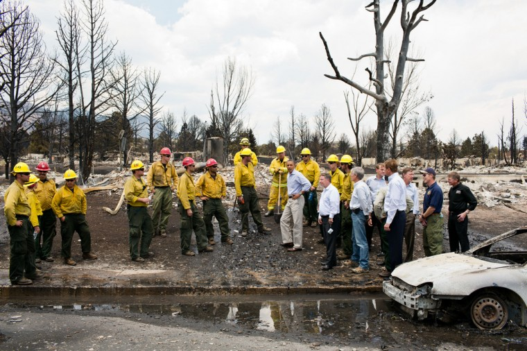 "June 29, 2012: ""The President views fire damage with firefighters and elected officials in Colorado Springs, Colo., after the devastating wildfires swept through the region the week before."" (Official White House Photo by Pete Souza)"