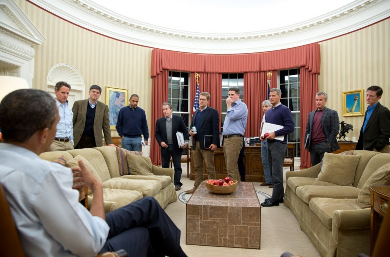 """Dec. 29, 2012: """"In the Oval Office, the President meets with senior advisors to discuss the ongoing fiscal cliff negotiations."""" (Official White House Photo by Pete Souza)"""
