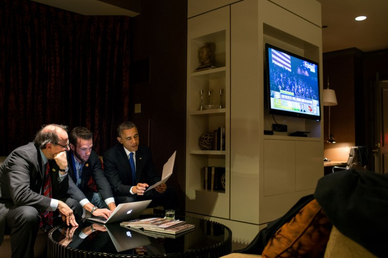 """Nov. 6, 2012 (Election Day): """"While he waited for the concession call from Gov. Mitt Romney, the President worked on his acceptance speech with Jon Favreau, Director of Speechwriting, and campaign advisor David Axelrod at a Chicago hotel."""" (Official White House Photo by Pete Souza)"""