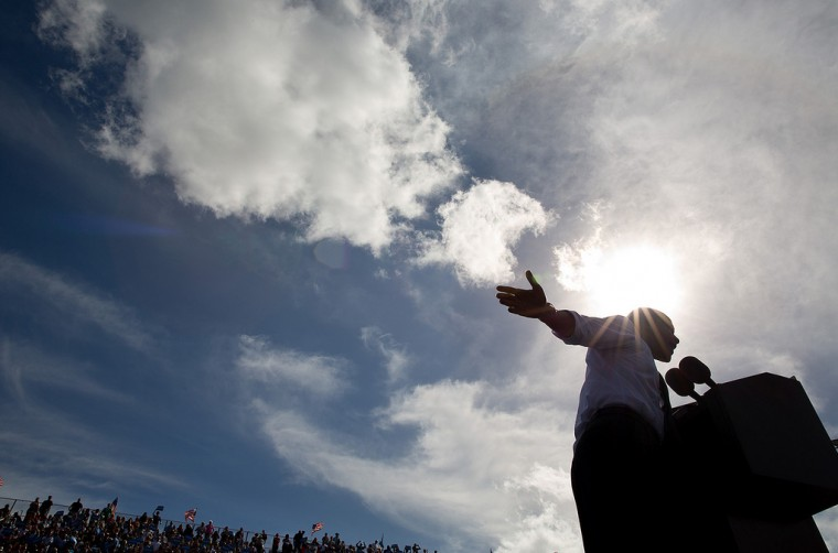 "Oct. 23, 2012: ""The afternoon sun beams down on the President during a campaign rally in Delray, Fla."" (Official White House Photo by Pete Souza)"