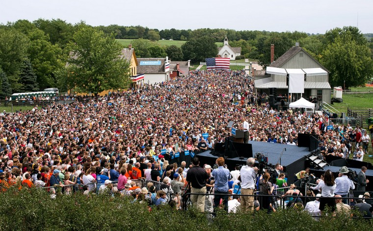 """Sept. 1, 2012: """"The overview of a campaign rally in Urbandale, Iowa. This view was from a scissors lift just above the press stand."""" (Official White House Photo by Pete Souza)"""