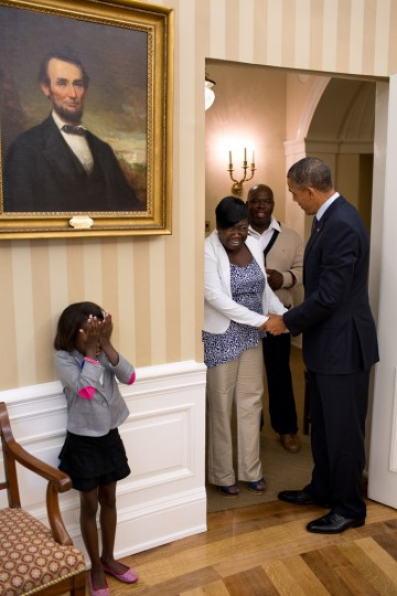 """Aug. 8, 2012: """"Overcome with emotion, eight-year old Make-A-Wish child Janiya Penny reacts just after meeting the President as he welcomes her family to the Oval Office."""" (Official White House Photo by Pete Souza)"""