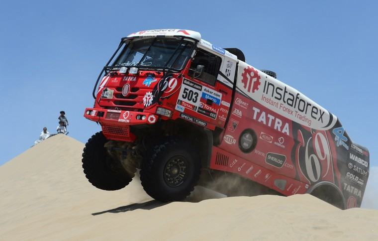 Ales Loprais of team Tatra competes during the stage from Pisco to Pisco on day two of the 2013 Dakar Rally on January 6, 2013 in Pisco, Peru. (Shaun Botterill/Getty Images)