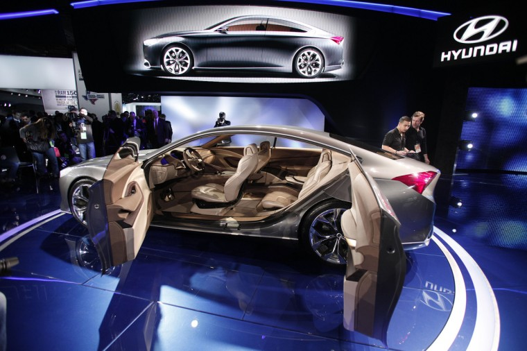The Hyundai HCD-14 concept vehicle is revealed at the 2013 North American International Auto Show media preview at the Cobo Center in Detroit, Michigan.(Bill Pugliano/Getty Images)