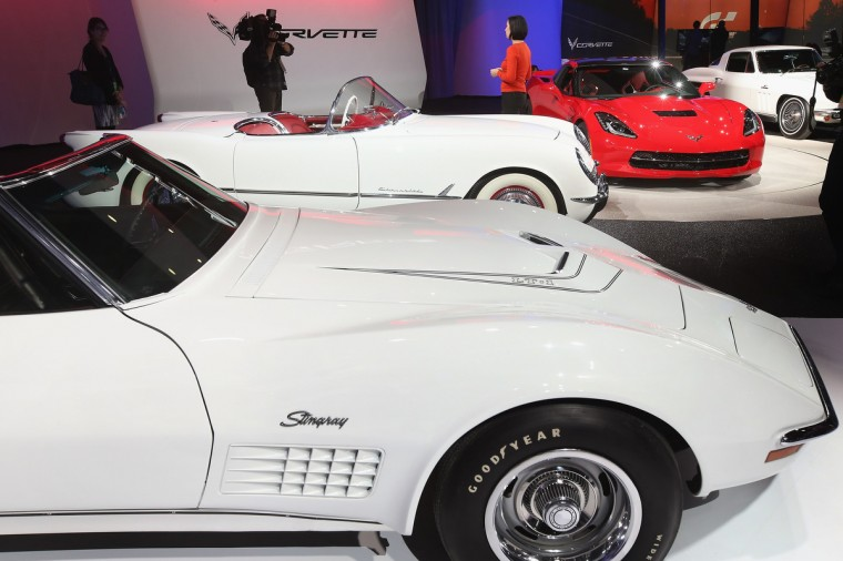 Several generations of Chevrolet Corvettes are displayed during the media preview at the North American International Auto Show. (Scott Olson/Getty Images)