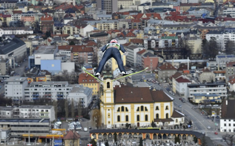 Severin Freund of Germany competes during a training jump at the FIS World cup Four Hills competition in Innsbruck. (Samuel Kubani/Getty Images)