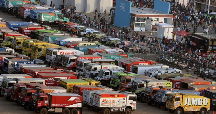 View of the parking lot of the Dakar 2013 competition at a beach in Magdalena, Lima on January 4, 2012. The 2013 Dakar Rally will feature 459 vehicles -- cars, bikes, trucks and quads -- and will cover 8,400km of Peru and Chile, with a stay in Argentina. (Franck Fife/Getty Images)