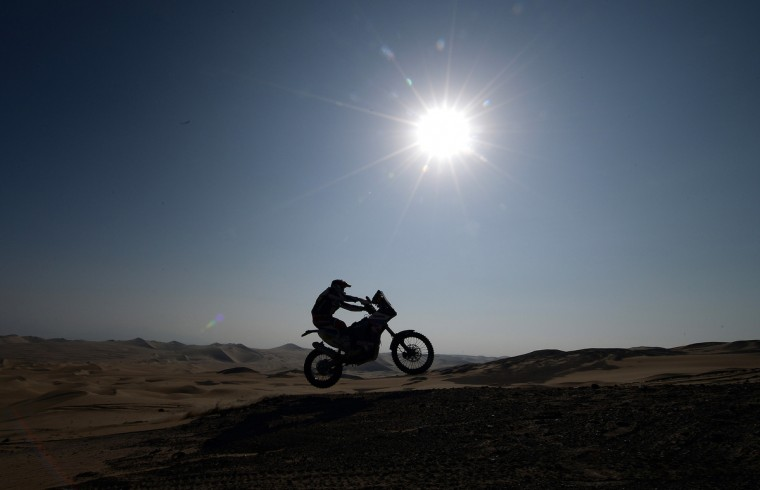 Sherco's rider Alain Duclos jumps during Stage 3 of the Dakar Rally 2013 between Pisco and Nazca, Peru, on January 7, 2013. (Franck Fife/Getty Images)