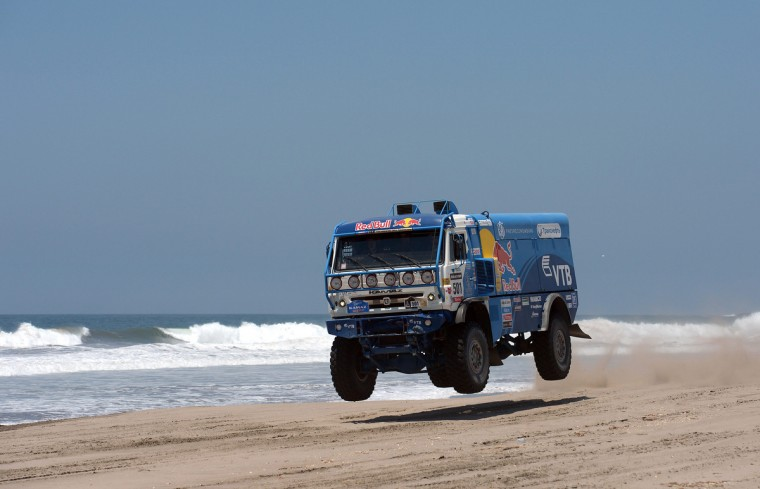 Russia Nikolaev Eduard jumps with a truck during Stage 4 of the Dakar 2013 between Nazca and Arequipa, Peru, on January 8, 2013. (Franck Fife/Getty Images)