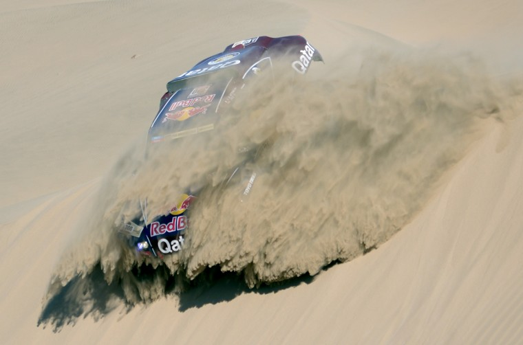 Qatar's Nasser Al-Attiyah competes during Stage 4 of the Dakar 2013 between Nazca and Arequipa, Peru. (Franck Fife/Getty Images)