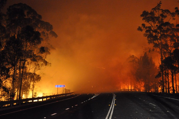 Trees burn and smoke billows from a fire along the Princes Highway at Deans Gap in the Shoalhaven area in New South Wales. A drop in temperatures helped firefighters battling blazes across Australia on January 9 but up to 30 wildfires were still raging out of control, destroying a handful of homes and forcing people to flee. (NSW Rural Fire Service/Getty Images)