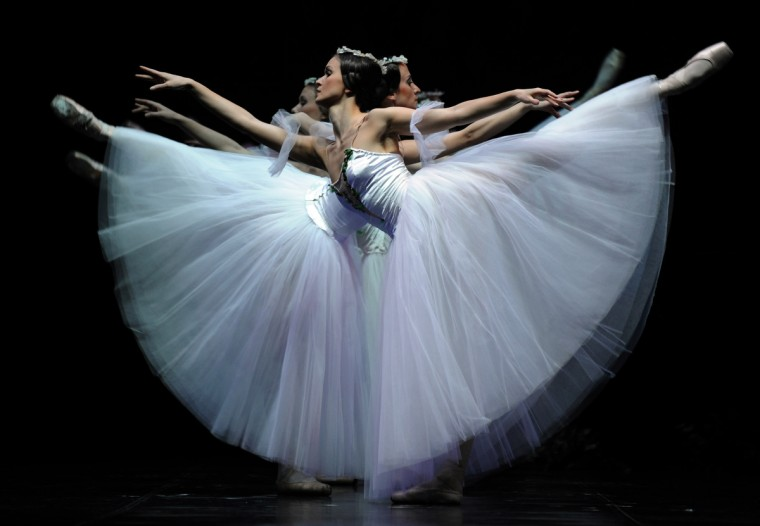 Classical dancers of the Latvian National Ballet perform during a dress rehearsal of 'Giselle' at the Teatro de la Maestranza in Seville. (Christina Quicler/Getty Images)