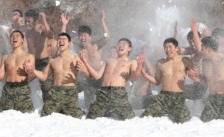 South Korean special warfare forces take part in a winter season drill in Pyeongchang, about 180 km east of Seoul. The Korean peninsula is the world's last Cold War frontier as Stalinst North Korea and pro-Western South Korea have been technically at war since the 1950-53 conflict. (Dong-A Ilbo/Getty Images)