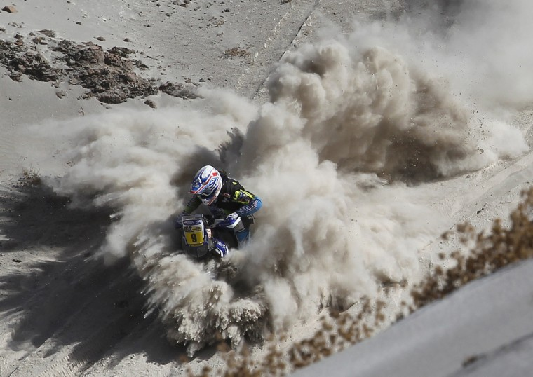 France's Olivier Pain competes during Stage 5 of the Dakar Rally 2013 between Arequipa and Arica, Chile, on January 9, 2013. (Frederic Le Floc'h/Getty Images)