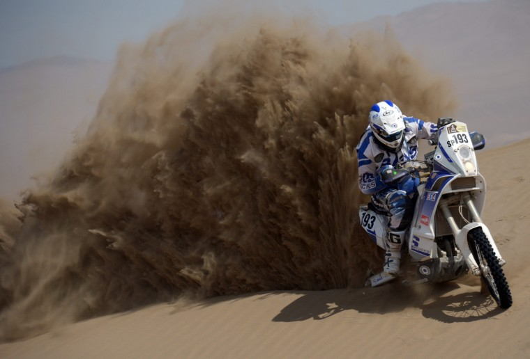 Italy's Juan Carlos Carignani competes in the Stage 6 of the 2013 Dakar Rally between Arica and Calama, Chile, on January 10, 2013. (Franck Fife/Getty Images)