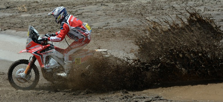 Honda's rider Javier Pizzolito of Argentina competes during Stage 8 of the Dakar Rally 2013 between Salta and Tucuman, Argentina, on January 12, 2013. (Franck Fife/Getty Images)