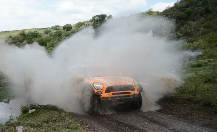 Mini's driver Leonid Nivitskiy of Russia competes during the Stage 9 of the Dakar 2013 between Tucuman and Cordoba, Argentina, on January 14, 2013. (Franck Fife/Getty Images)