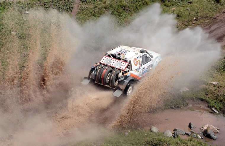 Russian Boris Gadasin competes on his G-Force Proto during the Stage 9 of the Dakar 2013 between Tucuman and Cordoba, Argentina, on January 14, 2013. (Franck Fife/Getty Images)