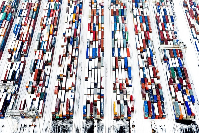Snow covered containers create a pattern in the port of Rotterdam, The Netherlands. Most of Holland is covered by a thick white layer after one night of snow. (Robin Utrecht/Getty Images)