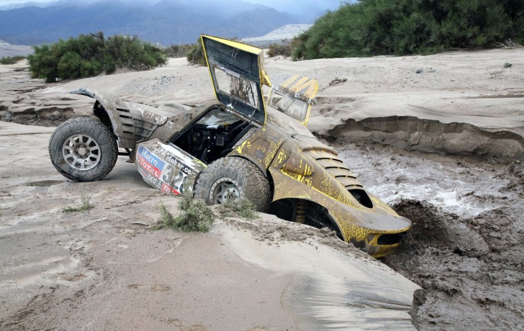 View of the car of French Pacal Thomasse during the Stage 11 of the Dakar 2013 between La Rioja and Fiambala, Argentina, on January 16, 2013. The rally takes place in Peru, Argentina and Chile between January 5 and 20. (Reuters)