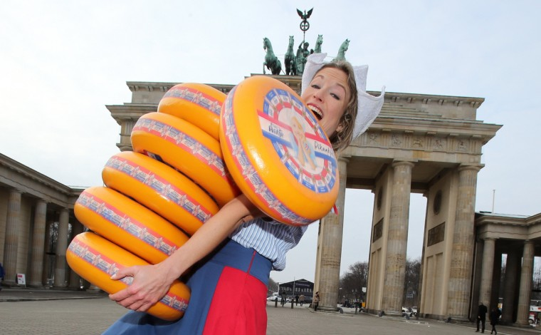 Dutch girls present the cheese for the Green Week Agricultural Fair, at the Brandenburg Gate in Berlin. The International Green Week takes place from January 18 to 27 in Berlin. (Wolfgang Kumm/Getty Images)