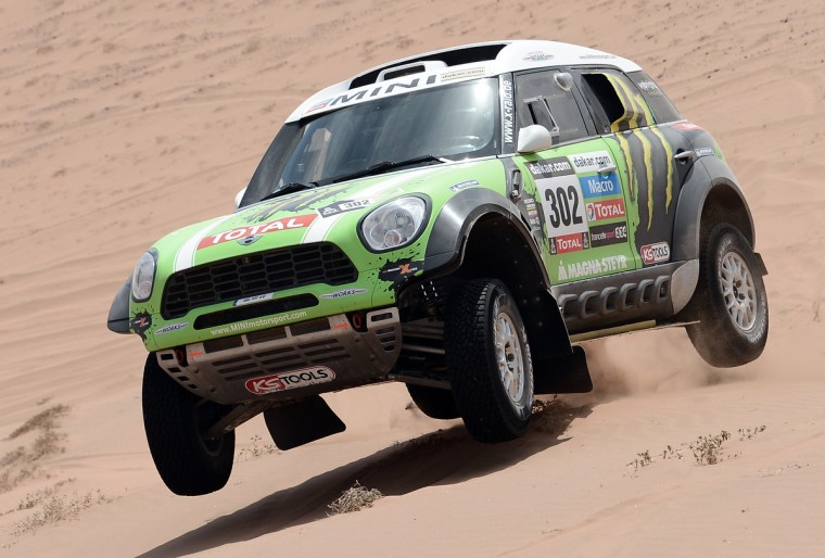 Mini's driver Stephane Perterhansel of France competes during the Stage 12 of the 2013 Dakar Rally between Fiambala in Argentina and Copiapo in Chile, on January 17, 2013. (Franck Fife/Getty Images)