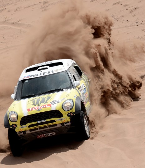 Spain's driver Joan Nani Roma steers his Mini during the Stage 12 of the 2013 Dakar Rally between Fiambala in Argentina and Copiapo in Chile, on January 17, 2013. (Franck Fife/Getty Images)
