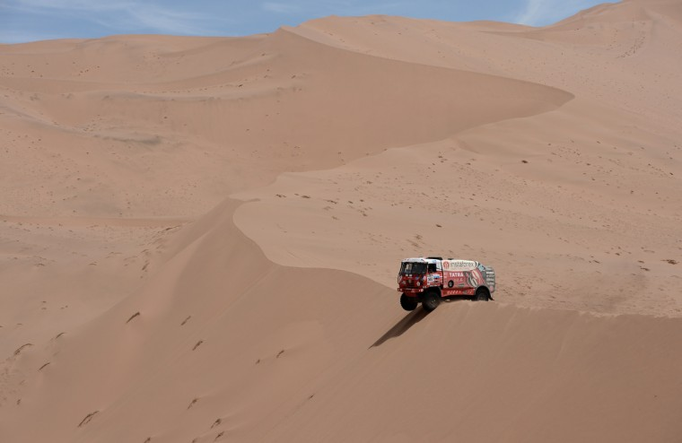Czech Ales Loprais steers his Tatra during the Stage 12 of the 2013 Dakar Rally between Fiambala in Argentina and Copiapo in Chile, on January 17, 2013. (Franck Fife/Getty Images)