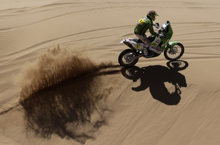 Norway's Pal Ullvalseter competes in the Stage 13 of the 2013 Dakar Rally between Copiapo and La Serena, in Chile, on January 18, 2013. The rally is taking place in Peru, Argentina and Chile from January 5 to 20. (Jacky Naegelen/Getty Images)