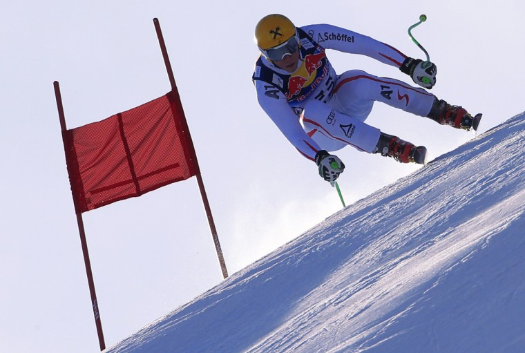 Austria's Max Franz competes during the men's World Cup Downhill training in Kitzbuehel. (Alexander Klein/Getty Images)