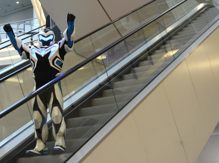 A performer dressed as robot stands at an escalator during the press preview of the international toy fair in Nuremberg, southern Germany. Around 2.700 exhibitors show more than 1 million products at the international toy fair which opens its doors from January 29 to February 4, 2013. (Christof Stache/Getty Images)
