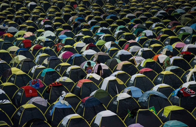 View of hundreds of tents with accommodations for 6000 people during the Campus Party event, in Sao Paulo, Brazil. About 8,000 hackers, developers and geeks are expected to attend the annual weeklong, 24-hours-a-day technology event which first started in Spain in 1997 and now spread into various countries. (Yasuyoshi CHiba/Getty Images)