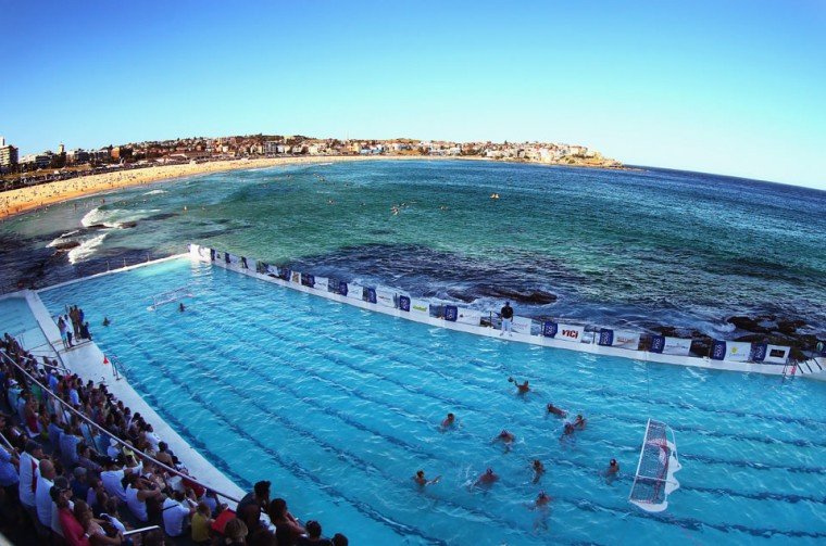 A general view of play during the Water Polo by the Sea match between Sydney University Lions and UNSW Wests at Bondi Icebergs, Bondi Beach in Sydney, Australia. (Ryan Pierse/Getty Images)