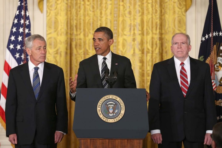 U.S. President Barack Obama (C) speaks during a news conference with chief counterterrorism adviser John Brennan (L), and former U.S. Sen. Chuck Hagel (R-NB) in the East Room at the White House on January 7, 2013 in Washington, DC. Pending approval by the Senate, the nomination of former U.S. Sen. Chuck Hagel (R-NB) as Secretary of Defense will replace Leon Panetta and chief counterterrorism adviser John Brennan will be the next director of the Central Intelligence Agency following the resignation of Army Gen. David Petraeus. (Mark Wilson/Getty Images)
