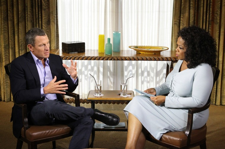 Oprah Winfrey speaks with Lance Armstrong during an interview regarding the controversy surrounding his cycling career January 14, 2013 in Austin, Texas. Oprah Winfrey's exclusive no-holds-barred interview with Lance Armstrong, 'Oprah and Lance Armstrong: The Worldwide Exclusive,' has expanded to air as a two-night event on OWN: Oprah Winfrey Network. (George Burns/Oprah Winfrey Network via Getty Images